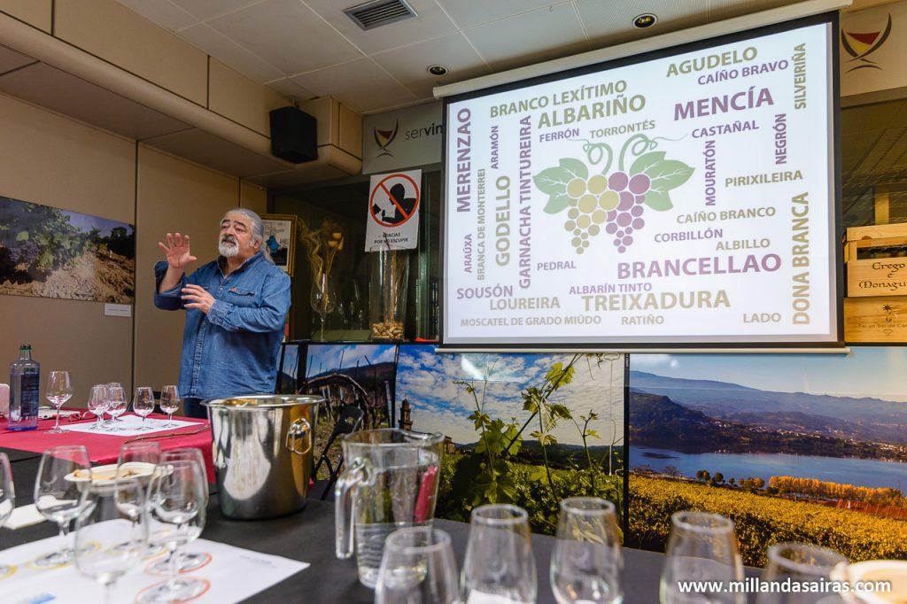 Luis Paadin enseñandonos una muestra de la variedad de vinos gallegos